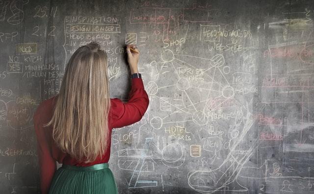 Professora escreve na lousa