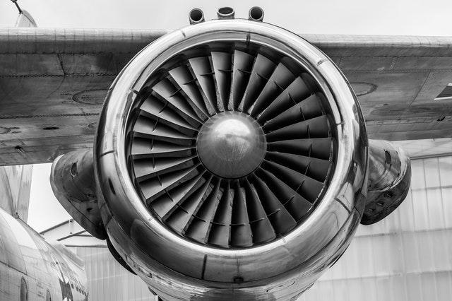 Turbina de um avião em zoom