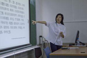 Aula do curso de formação para professores de língua chinesa no Instituto Confucio de Barcelona