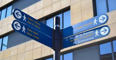 Imagem de sinalizações no bairro de Poble Sec