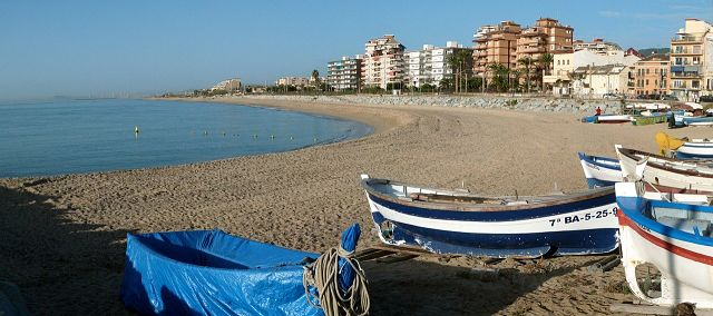 A vista da praia em Maresme