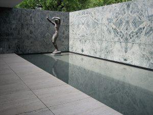 Imagem de uma estátua no Pavilhão Alemão de Barcelona