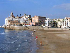 Praia na região de Sitges, próxima à Barcelona
