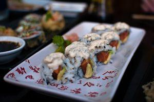 Imagem de um menta-uramaki, do restaurante Kibuka