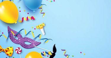 Máscara, bexigas e confetes de Carnaval