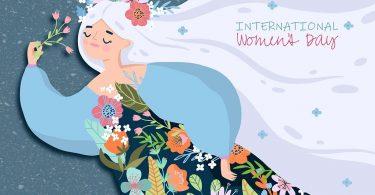 Figura de mulher representa Deusa das flores e do natural ilustra cartaz sobre o Dia Internacional da Mulher