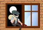 Ladrão pulando a janela